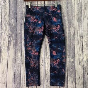 Lululemon Wunder Under Crop II Navy Floral Legging